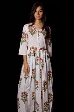 Hand Block Printed Floral Dress - SH-HBPD-W-026