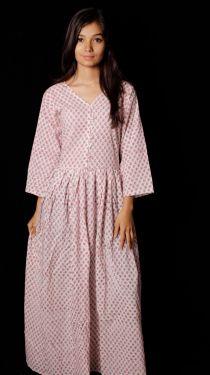 Hand Block Printed Floral Dress - SH-HBPD-W-027