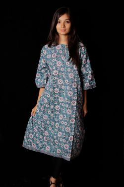 Hand Block Printed Floral Mid Dress - SH-HBPD-W-028