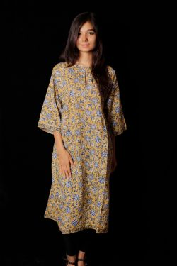 Hand Block Printed Floral Mid Dress - SH-HBPD-W-029
