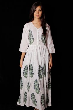 Hand Block Printed Floral Paisley Dress - SH-HBPD-W-030