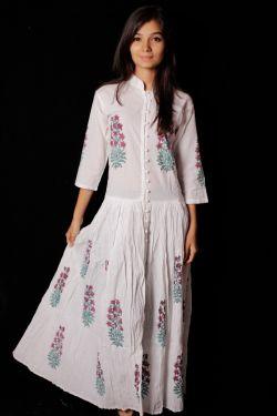 Hand Block Printed Floral Paisley Dress - SH-HBPD-W-031
