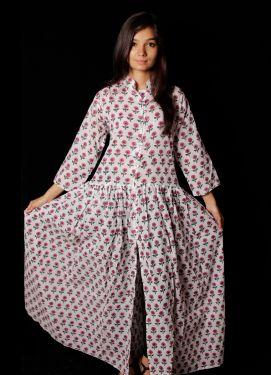 Hand Block Printed Floral Dress - SH-HBPD-W-033