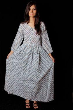 Hand Block Printed Floral Dress - SH-HBPD-W-034