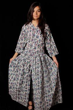Hand Block Printed Floral Dress - SH-HBPD-W-035