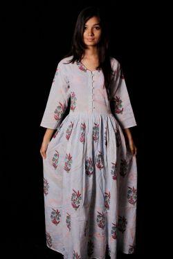 Hand Block Printed Floral Paisley Dress - SH-HBPD-W-036