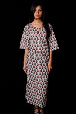 Hand Block Printed Floral Dress - SH-HBPD-W-037