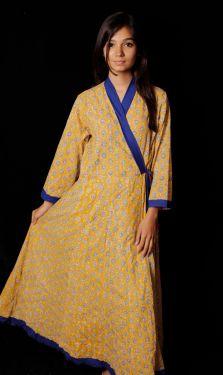 Hand Block Printed Floral Kimono Pattern Dress - SH-HBPD-W-040
