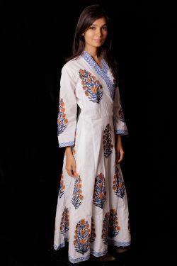 Mughal Block Printed Cotton Dress - SH-HBPD-W-041