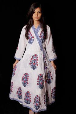 Mughal Block Printed Cotton Dress - SH-HBPD-W-042