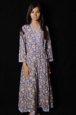 Blue Floral Block Printed Dress - SH-HBPD-W-048