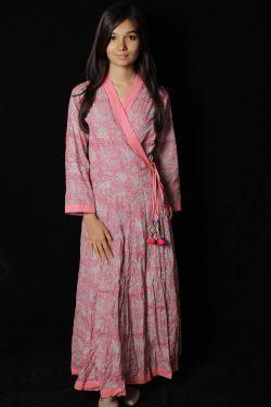 Pink Floral Block Printed Dress - SH-HBPD-W-049