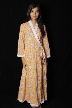 Yellow Floral Block Printed Dress - SH-HBPD-W-052