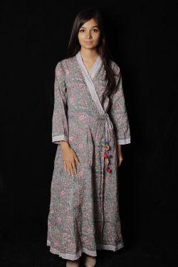 Gray Floral Block Printed Dress - SH-HBPD-W-053