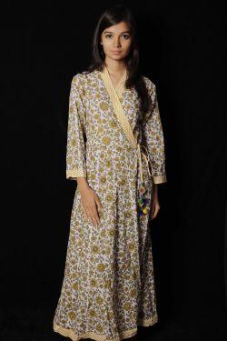 Yellow Floral Block Printed Dress - SH-HBPD-W-054