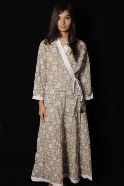 Green Floral Block Printed Dress - SH-HBPD-W-056