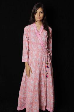 Pink Floral Block Printed Dress - SH-HBPD-W-057