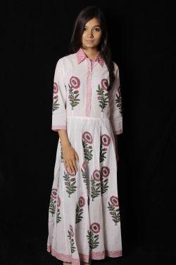 Pink Mughal Floral Block Printed Dress - SH-HBPD-W-060