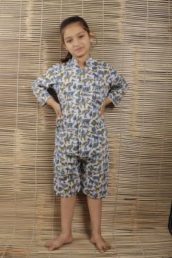 Animal Block Printed Night Wear - SH-HBPNS-G-040