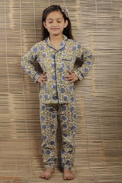 Lotus Block Printed Night Wear - SH-HBPNS-G-019