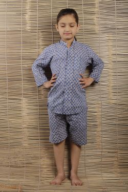 Booti Block Printed Night Wear - SH-HBPNS-G-020