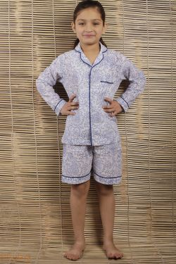 Floral Block Printed Night Wear - SH-HBPNS-G-021