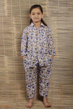 Animal Block Printed Night Wear - SH-HBPNS-G-026