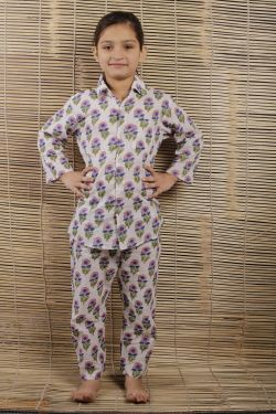 Floral Block Printed Night Wear - SH-HBPNS-G-027