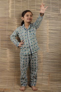Floral Block Printed Night Wear - SH-HBPNS-G-032
