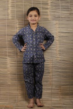 Floral Block Printed Night Wear - SH-HBPNS-G-033