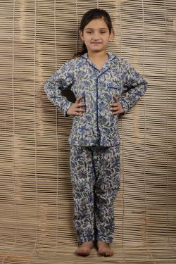 Floral Block Printed Night Wear - SH-HBPNS-G-034