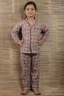 Floral Block Printed Night Wear - SH-HBPNS-G-036