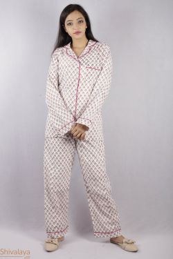 Floral Block Printed Night Suit - SH-HBPNS-W-002