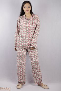 Floral Block Printed Night Suit - SH-HBPNS-W-007