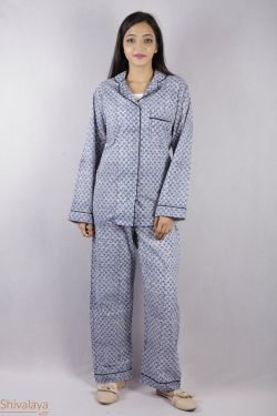 Booti Block Printed Night Suit - SH-HBPNS-W-010