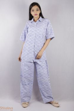 Geometrical Block Printed Night Suit - SH-HBPNS-W-011