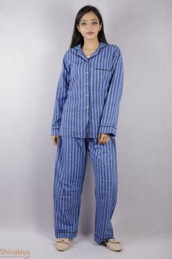 Stripes Block Printed Night Suit - SH-HBPNS-W-012
