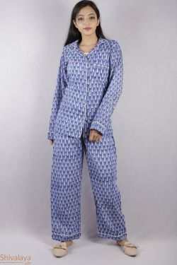 Booti Block Printed Night Suit - SH-HBPNS-W-014
