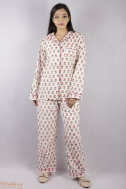 Floral Block Printed Night Suit - SH-HBPNS-W-018