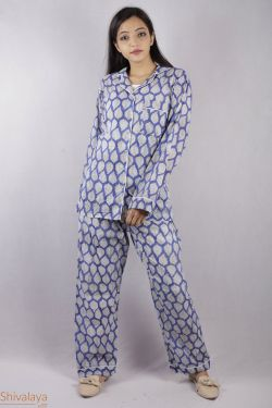 Leaf Design Block Printed Night Suit - SH-HBPNS-W-022