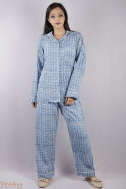 Blue Leaf Design Block Printed Night Suit - SH-HBPNS-W-023