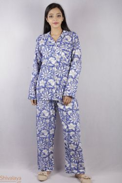 Floral Block Printed Night Suit - SH-HBPNS-W-024