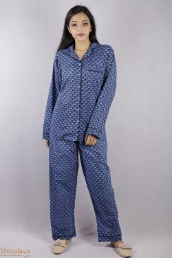 Geometrical Block Printed Night Suit - SH-HBPNS-W-025