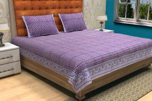 Geometrical Hand Block Printed Bed Sheet - SHJ-HBP-BCVR-005