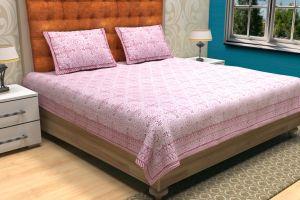 Geometrical Block Printed Bed Sheet - SHJ-HBP-BCVR-008