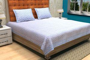 Abstract Block Printed Bed Sheet - SHJ-HBP-BCVR-010