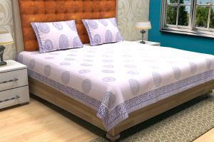 Geometrical Hand Block Printed Bed Sheet - SHJ-HBP-BCVR-011