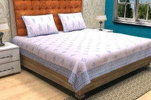 Floral Hand Block Printed Bed Sheet - SHJ-HBP-BCVR-012