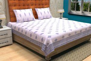 Indigo Blue Block Printed Kantha Quilt - SHJ-HBP-KQ-022