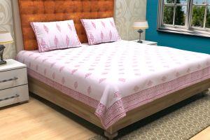 Floral Hand Block Printed Bed Sheet - SHJ-HBP-BCVR-013